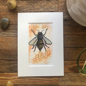 Worker Bee, original Roots and Wings watercolor painting