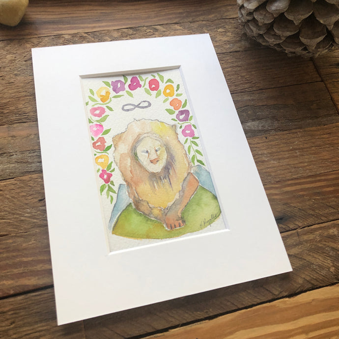 Strength, lion, original Roots and Wings watercolor painting