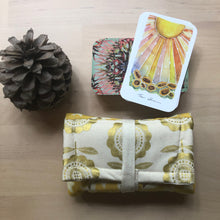Load image into Gallery viewer, Oracle Card Pouch | gold floral and stars