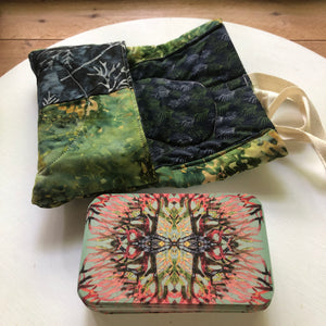 Oracle Card Bag | green leaves and blue