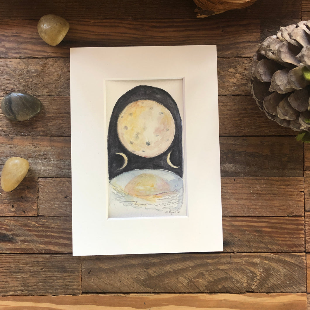 The Moon, original Roots and Wings watercolor painting
