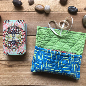 Oracle Card Bag | bright blue and green quilted