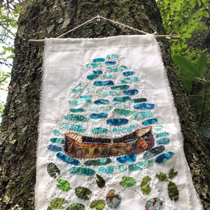 Canoe Drifting fabric collage