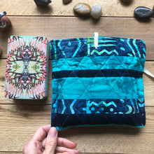 Load image into Gallery viewer, Oracle Card Bag | striped blue quilted