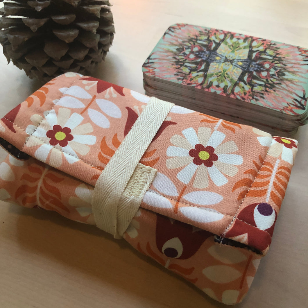 Oracle Card Pouch | peach tulips