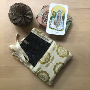 Oracle Card Bag | gold and white floral