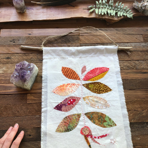 Permission to Grow Pink | Fiber Art Hand stitched wallhanging