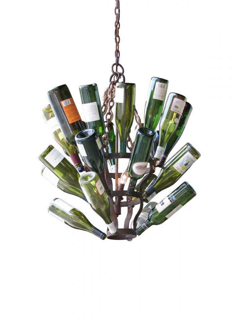Naples Rust and Jute Wine Bottle Chandelier