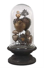 Sacred Hearts in Glass Cloche