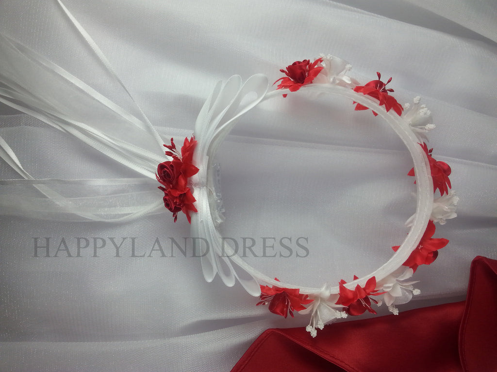 Red And White Flower Crownhalo Happy Land