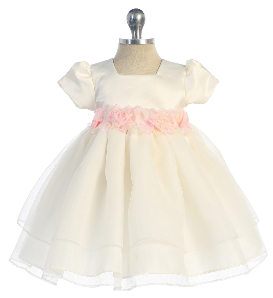 Ivory And Pink Flower Patch Baby Dress B 109 Happy Land