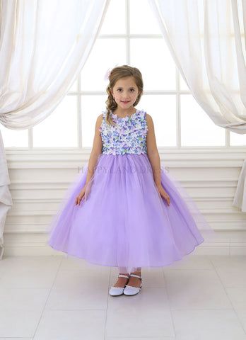D630 Lilac Satin & Tulle Dress with Floral Accents Girl Dress