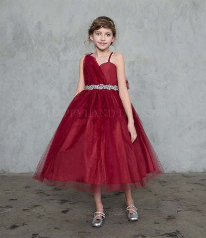 18a7101a9 Burgundy Draped Shoulder with Rhinestone Tulle Dress #212760 – Happy ...