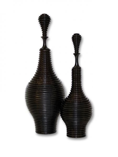 Narrow Ridged Ebony Vessel