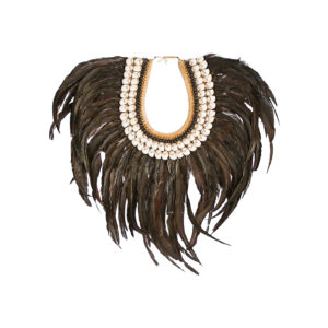 Black Feather and Shell Collar Decorative Necklace