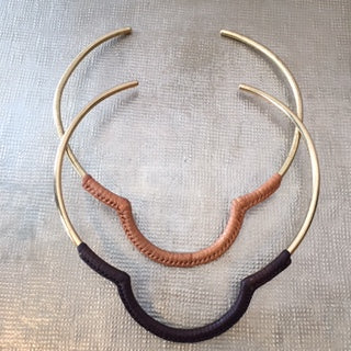Brass and Leather Neck Cuff
