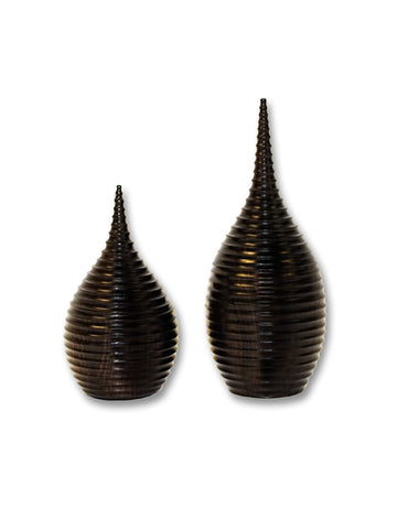 Teardrop Ridged Ebony Vessel Large
