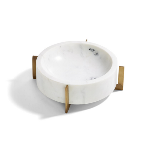 White Marble Bowl with Gold Stand