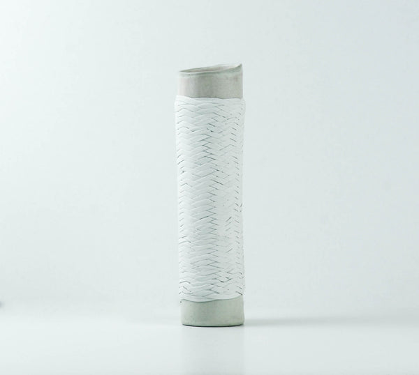 Leather Wrapped Vase White