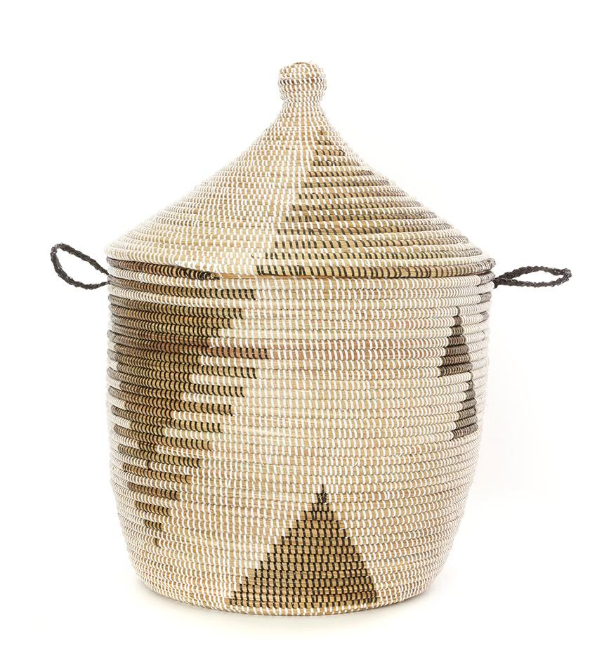 Tribal Design Lidded Basket