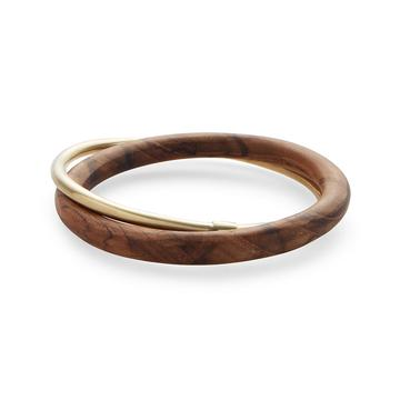 Interlocking Brass and Teak Bangles