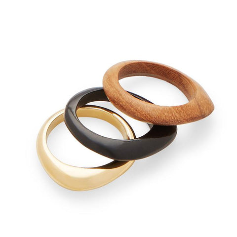 Sabi Mixed Materials Stacked Rings - Black