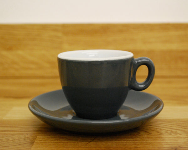 Inker Luna Dark Grey Espresso Cup and Saucer - (2.5oz)