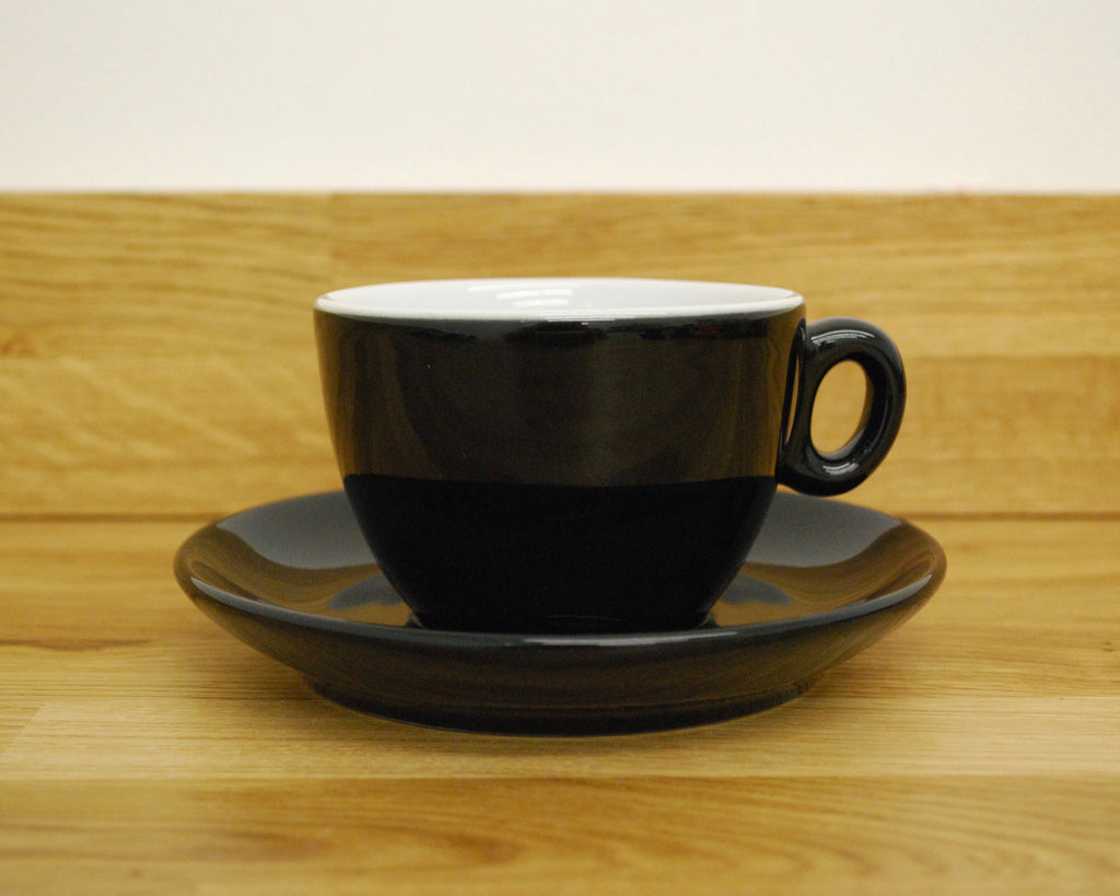 Inker Luna Black Flat White Cup and Saucer - (6oz)