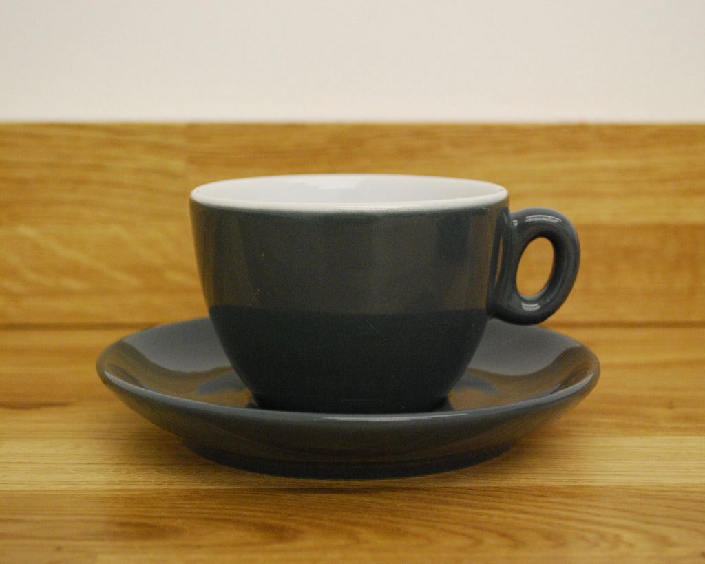 Inker Luna Dark Grey Flat White Cup and Saucer - (6oz)
