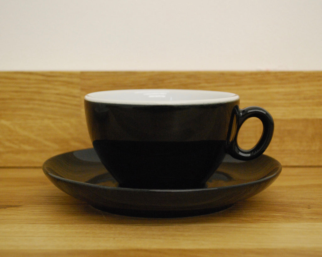 Inker Luna Black Latte Cup and Saucer - (8.5oz)