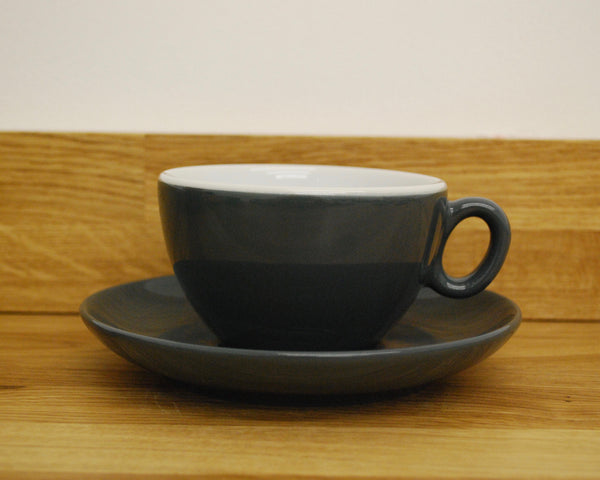 Inker Luna Dark Grey Latte Cup and Saucer - (8.5oz)
