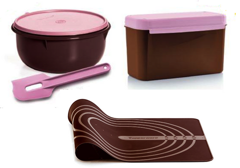 Tupperware Man UK - 4-piece Baking Set Choc and Pink