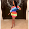 Rainbow neon mini dress (Multi)
