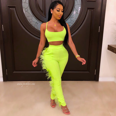 Stormi feather pants set (Neon yellow)