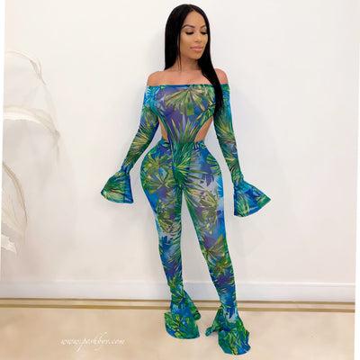 Tavia bodysuit legging set (Green)