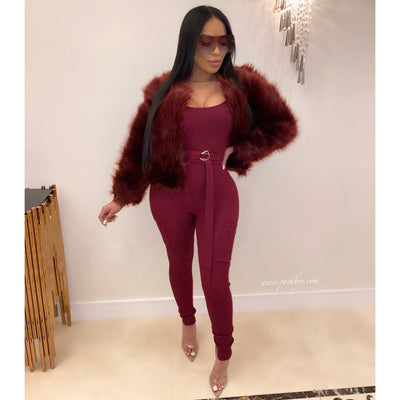 London fur jacket (Wine)