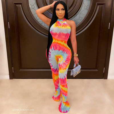 Fly mesh jumpsuit (Pink multi)