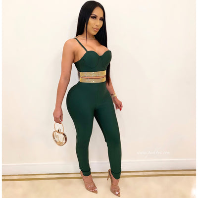 Arie bandage pants set (Emerald gold)