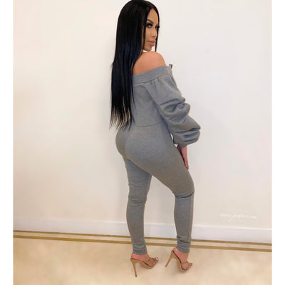 Jay ruched sleeve jumpsuit (Grey)