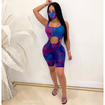 Amara tied romper w/mask (Purple/blue)