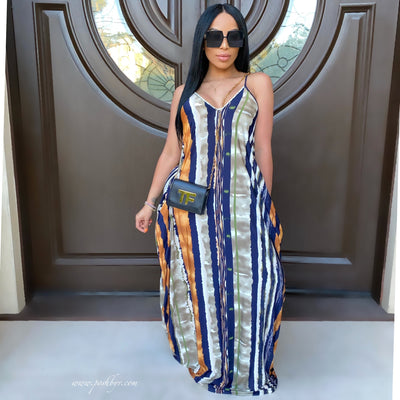 Boho maxi dress (Navy/brown)