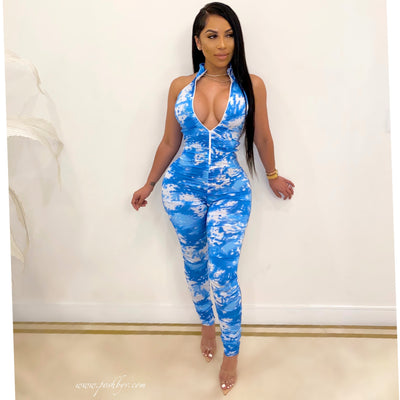 Rage ruched jumpsuit (Blue)