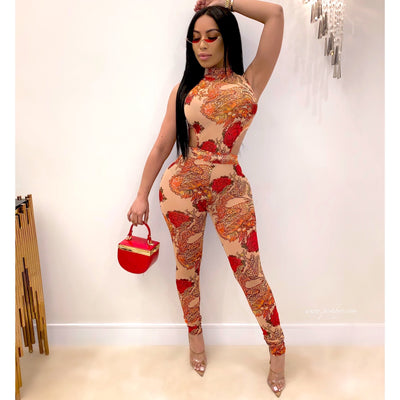 Inked mesh jumpsuit (Nude/red)