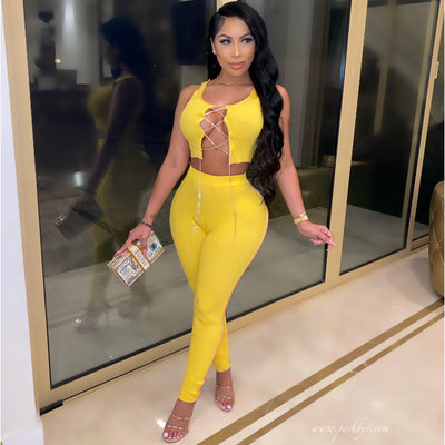 Moya crystal laced pants set (Yellow)