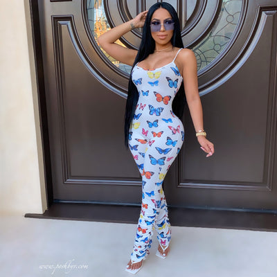 Solei butterfly jumpsuit (White)
