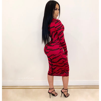 Jay tiger midi dress (Red)