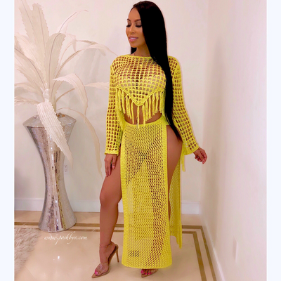 Lyn crochet skirt set (Yellow)