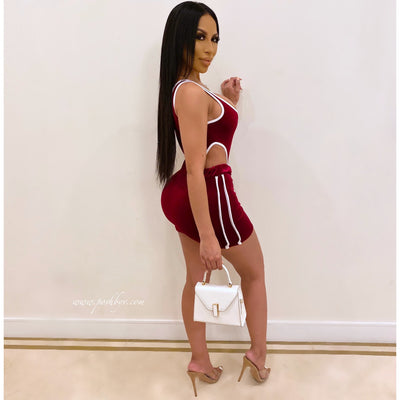 Kiki bodysuit skirt set (Wine)