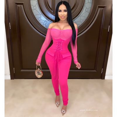 Polly corset jumpsuit (Pink)
