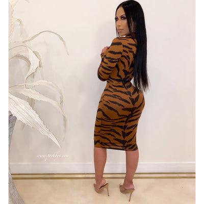 Jay tiger midi dress (Brown)